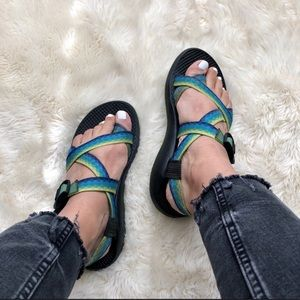 Chaco Vibram Sole Blue and Green Sandals